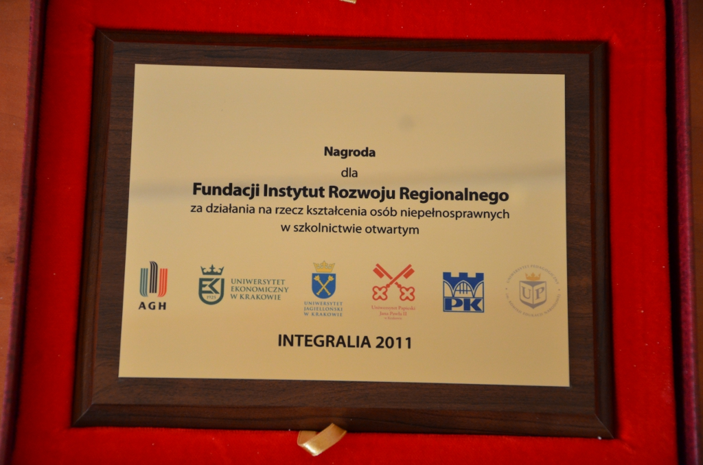 Integralia Nagroda dla Fundacji Instytut Rozwoju Regionalnego od Pełnomocników do spraw osób niepełnosprawnych