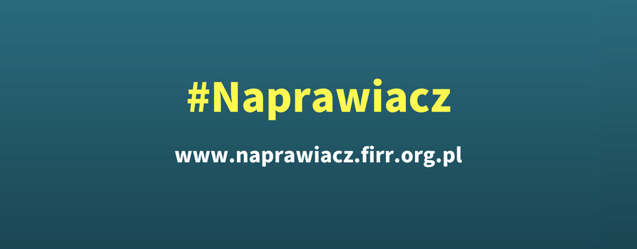 Logotyp aplikacji #Naprawiacz i adres strony www.naprawiacz.firr.org.pl