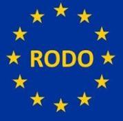 Fragment flagi europejskiej z charakterystycznymi gwiazdami i napis RODO