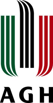 Logo Akademii Górniczo-Hutniczej w Krakowie. Logo AGH znajduje się na białym tle. Posiada kolejno zieloną, czarną i czerwoną przerywaną wstęgę. Czarna skierowana jest ku górze, zelona i czerwona ku dołowi i w swoim kierunku. Pod nimi znajduje się pogrubiony, czarny napis AGH.