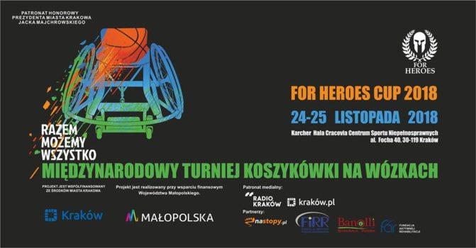 Grafika promująca Międzynarodowy turniej koszykówki na wózkach For Heroes Cup 2018