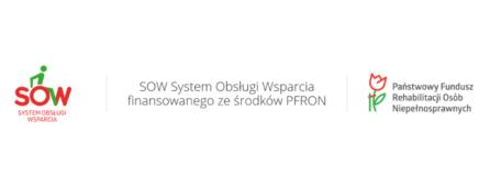 banner SOW, na którym znajduje się logotyp PFRON oraz SOW