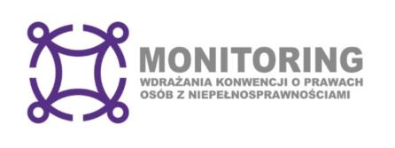 zdjęcie przedstawia logotyp monitoringu, na białym tle znajduje się tekst monitoring wdrażania konwencji oraz fioletowy znak