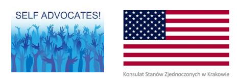 Dwa logotypy: Self Adwokacji i Konsulat USA