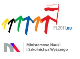 Dwa logotypy: Polskiej Prezydencji w Radzie UE oraz Ministerstwa Nauki i Szkolnictwa Wyższego