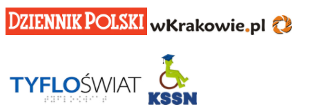 Logotypy Patronów medialnych: Dziennika Polskiego, Kwartalnika Tyfloświat, portalu wkrakowie.pl oraz KSSN