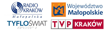 Logotypy patronów medialnych: Radia Kraków, Województwa Małopolskiego, Kwartalnika Tyfloświat i TVP Kraków