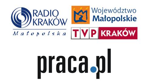 Logotyp Radia Kraków, Województwa Małopolskiego, TVP Kraków i portalu praca.pl