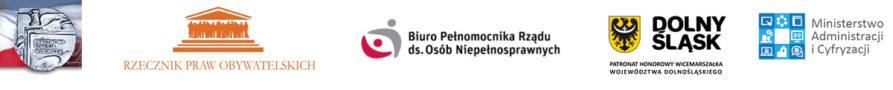 Logotypy Państwowej Komisji Wyborczej, Rzecznika Praw Obywatelskich, Biura Pełnomocnika Rządu ds. Osób Niepełnosprawnych, Wicemarszałka Województwa Dolnośląskiego, Ministerstwa Administracji i Cyfryzacji