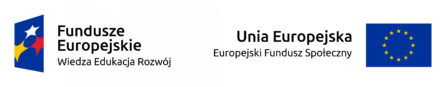 Logtypy Europejskiego Funduszu Społecznego oraz Funduszy Eurpejskich Wiedza-Edukacja-Rozwój