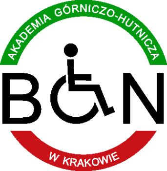 """Logo BON Akademii Górniczo-Hutniczej w Krakowie. Logotyp znajduje się na białym tle i ma kształt koła. Górna część jest w kolorze zielonym i posiada napis """"Akademia Górniczo - Hutnicza"""", a dolna - w kolorze czerwonym - """"w Krakowie"""". Wewnątrz koła mieści się napis BON o czarnej kolorystyce, gdzie litera """"o"""" jest równocześnie kołem wózka inwalidzkiego."""