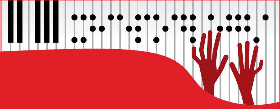 zdjęcie jest biało-czerwone. Są na nim klawisze z pianina, na których alfabet braille'a jest napisane o muzyce.