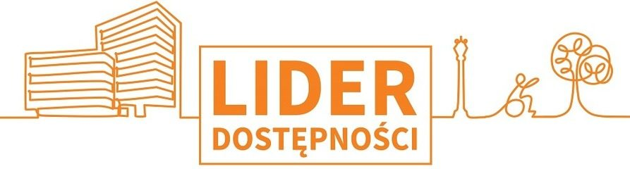 Zdjęcie przedstawia narysowane pomarańczową kreską na białym tle budynki oraz drzewa, jest też napis Lider dostępności. To logotyp konkursu.