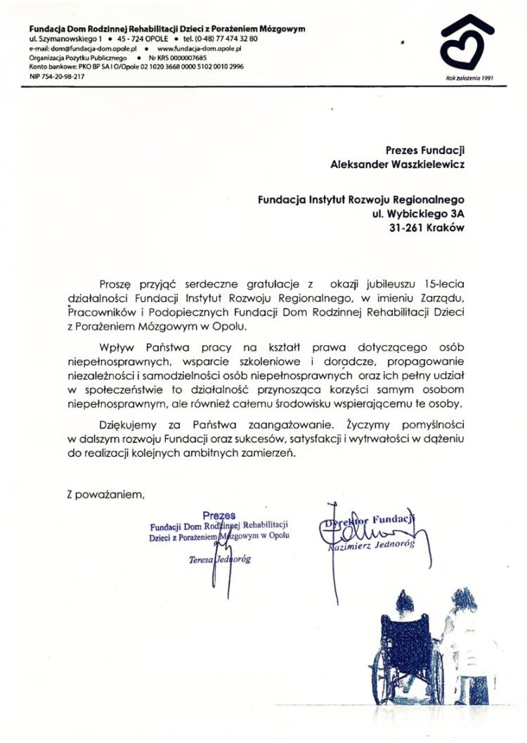 List gratulacyjny od Fundacji dom rodzinnej rehabilitacji dzieci z porażeniem mózgowym z Opola