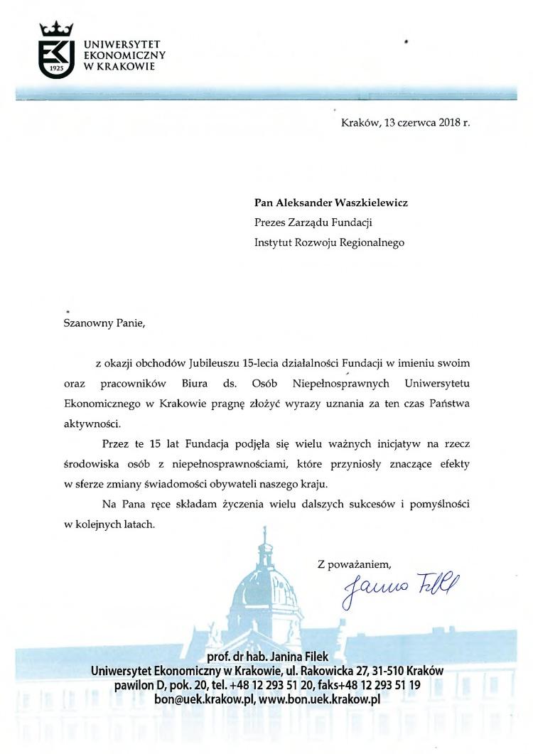 List gratulacyjny od Uniwersytetu Ekonomicznego w Krakowie