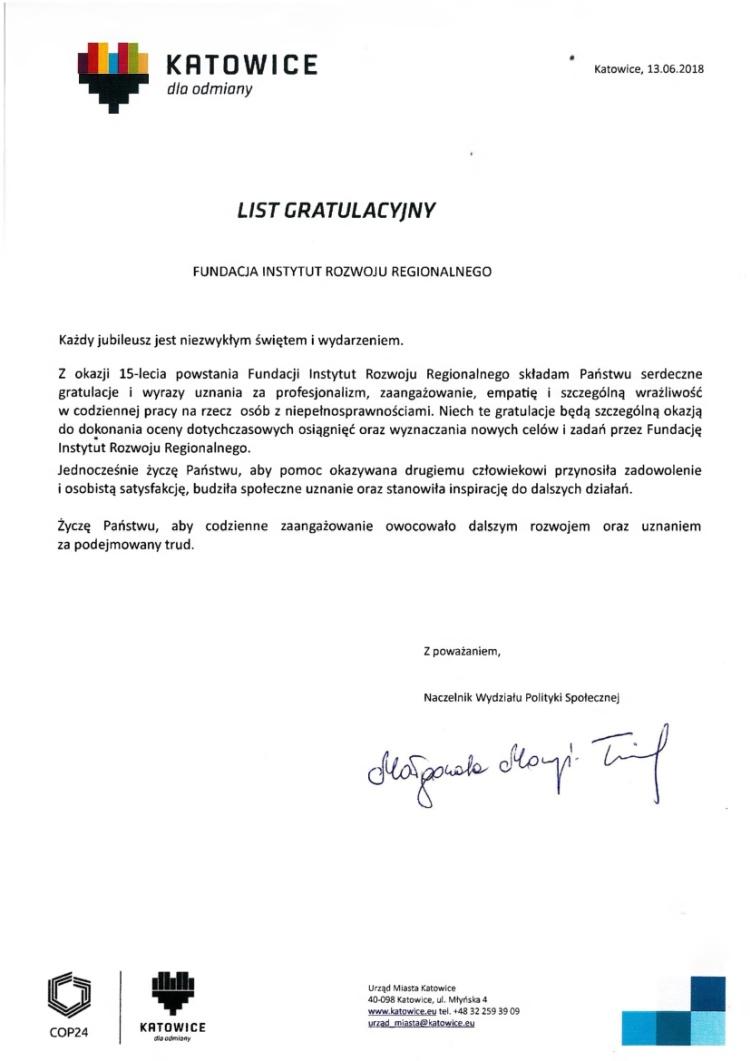 List gratulacyjny od Urzędu Miasta Katowice