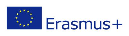 zdjęcie przedstawia logotyp Erasmusa, na białym tle jest niebieski napis