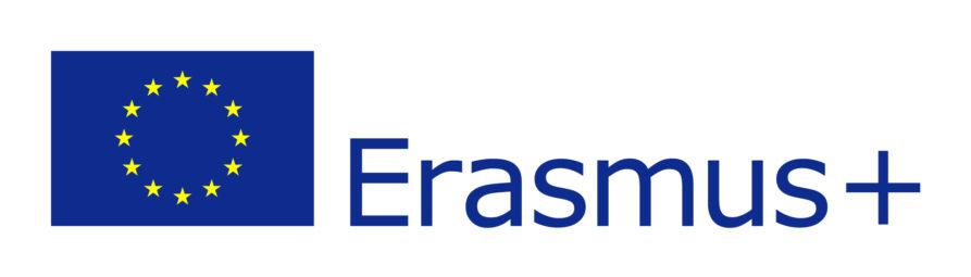 zdjęcie przedstawia gwiazdy na niebieskim tle z flagi Unii Europejskiej. Jest też logotyp Erasmus plus.