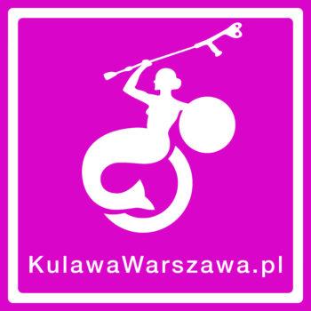zdjęcie przedstawia logotyp fundacji kulawa warszawa - na różowym tle jest biała warszawska syrenka która siedzi na wózku inwalidzkim