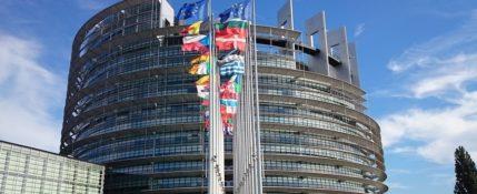 zdjęcie przedstawia budynki parlamentu europejskiego na tle nieba. Na pierwszym planie widoczne są dwa budynki oraz flagi członków inii europejskiej. W tle widać niebo.