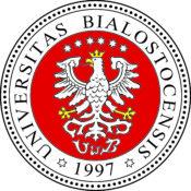 zdjęcie przedstawia białego orła w złotej koronie na czerwonym tle. Nag głową orła jest sześć gwiazd. To logotyp uniwersytetu w białymstoku.