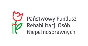 zdjecie przedstawia logotyp Państwowego Funduszu Osób Niepełnosprawnych. To kwiat narysowany czerwoną linią, na zielonej łodydze.