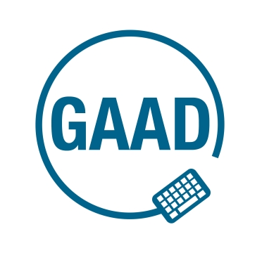 zdjęcie przedstawia logo międzynarodowego dnia dostępności, na białym tle, jest niebieski napis GAAD (amerykański skrót nazwy) oraz symbol klawiatury.