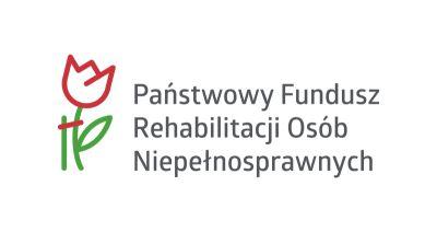 logotyp PFRON- tulipan, z czerownymi zarysowanymi płatkami i zieloną łodygą. Obok niego napisa: państwowy Fundusz Rehabilitacji osób niepełnosprawnych. Wszystko na białym tle.