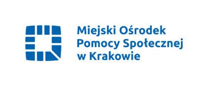 logotyp Miejskiego ośrodka pomocy społecznej w Krakowie, na białym tle niebieski kwadrat oraz napis miejski ośrodek pomocy społecznej w Krakowie