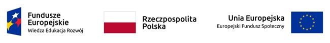logotypy Unii Europejskiej, flaga Rzeczpospolitej oraz logotyp Europejskich Funduszy Społecznych