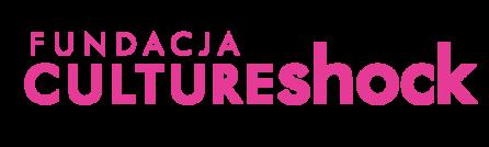 logotyp Fundacj Culture Shock, na białym tle napisana jest nazwa kolorem różowym oeaz fioletowym