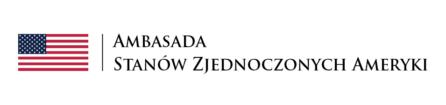 logotyp ambasady stanów zjednoczonych ameryki - białe gwiazdy na granatowym tle oraz czerwono-białe pasy