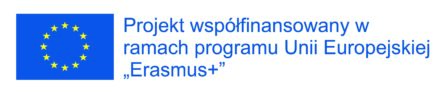 logoty projektu Erasmus plus, oraz informacja o wspólfinansowaniu w ramach programu Unii europejskiej