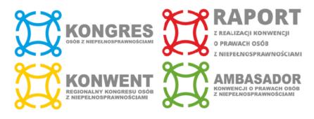 logotypy kongresu osób z niepełnosprawnościami, konwentów regionalnych oraz raportu z realizacji konwencji i ambasadora konwencji o prawach osób z niepełnosprawnościami