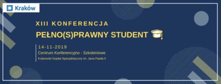 grafika ilustrująca konferencję pełnosprawny student,. Na granatowym tle podane zostały informacje o samej konferencji trzynasta edycja, miejsce konferencji. Jest też studencka czapka. Całość otacza biała ramka z logotypem Krakowa, gdyż konferencja jest współfinansowane przez Gminę Miejską Kraków