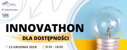 grafika zawiera informacje o Innovathonie dla dostępności - czas, miejsce wydarzenia oraz logotypy organizatorów - po prawej stronie jest też żarówka która może symbolizować innowacje. To ilustracja wydarzenia innovathonu dla dostępności, który odbędzie się 13 grudnia 2019 roku w Krakowie