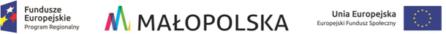 logotypy unii europejskiej województwa małopolskiego oraz europejskiego funduszu społecznegi