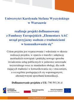 plakat projektu Elementarz AAC  urząd przyjazny osobom z trudnościami w komunikowaniu się. Plakat jest przygotowany przez Uniwersytet Kardynała Stefana Wyszyńskiego