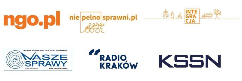 logotypy partnerów medialnych: NGO, niepełnosprawni.pl, Fundacja Integracja, naszesprawy.eu, Radio Kraków, KSSN.