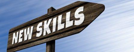 drogowskaz z napisem new skills - drewniany na niebieskim tle. To ilustracja ogłoszenia o pracę specjalisty ds. upowszechniania rezultatów projekty