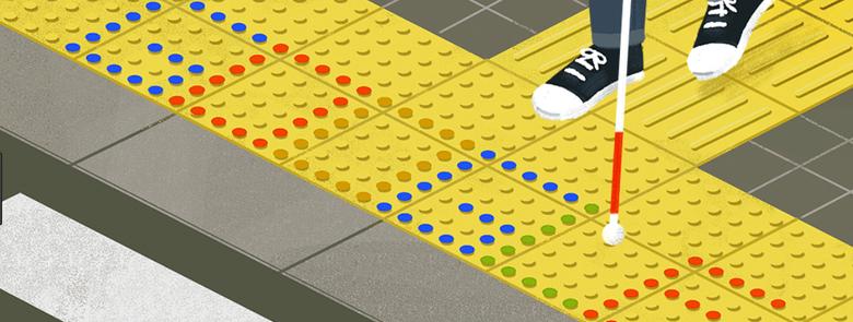 grafika przedstawia fakturowe oznaczenia nawierzchni w kolorze żółtym przed przejściem