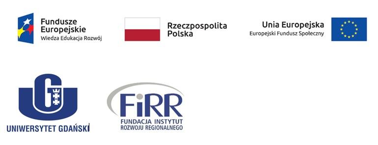logotypy: funduszy europejskich - wiedza edukacja rozwój; flaga Rzeczpospolitej Polskiej, Uniiw europejskiej - europejskiego funduszu społecznego, Uniwersytetu Gdańskiego oraz Fundacji Instytut Rozwoju Regionalnego