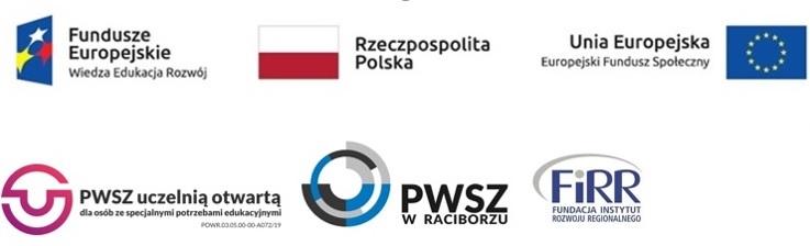 logotypy funduszy europejskich, flaga Rzeczpospolitej Polskiej, flaga unii europejskiej, europejskie fundusz społeczny, logotyp projektu PWSZ uczelnią otwartą dla osób ze specjalnymi potrzebami edukacyjnymi, logotyp PWSZ w Raciborzu, logotyp FIRR