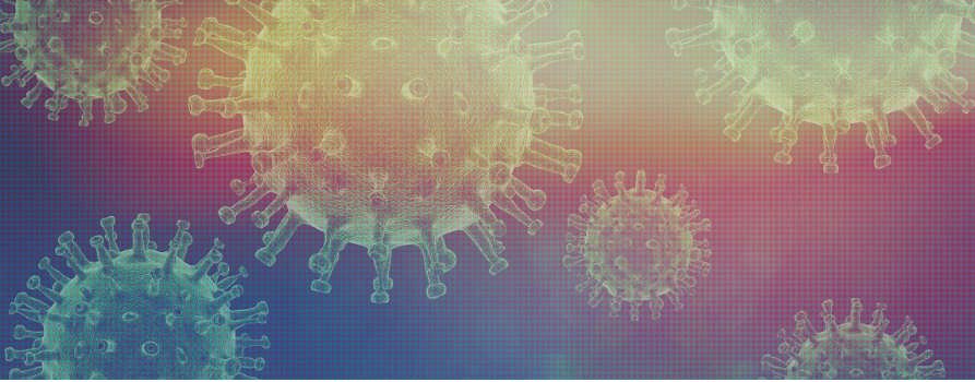 na różowo-niebieskim tle cząstki wirusa covid-19. cząstki są w kształcie kuli, z której wystają niedługie wypustki
