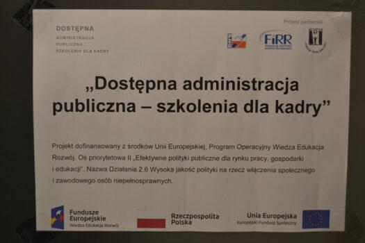 tablica informacyna dotycząca realizacji projektu
