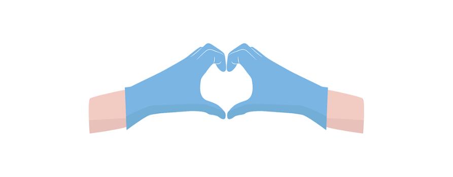 grafika. na białym tle dwie ręce w niebieskich rękawiczkach złożone w kształt serca