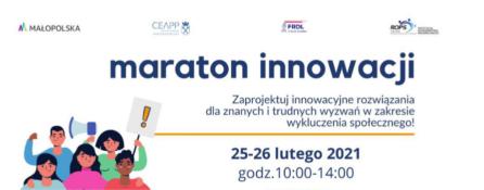 Plakat tekstowy Maratonu Innowacji - wszystkie informacje do przeczytania w newsie
