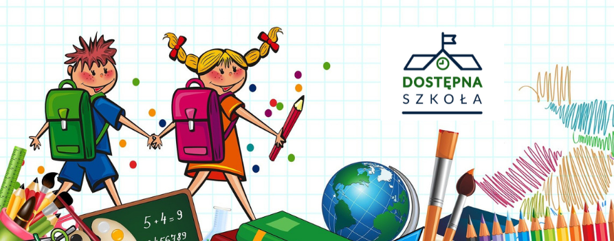 grafika: dziewczynka i chłopiec w kolorowych ubraniach i z plecakami na plecach idą w kierunku znaku, na którym z napisem DOSTĘPNA SZKOŁA