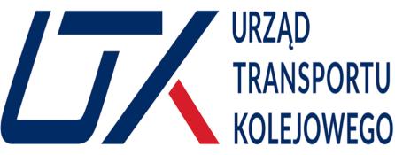 logo Urzędu Transportu Kolejowego Niebieski napis na białym tle Po lewej stronie kreski pionowe i poziome, tworzące skrót UTK