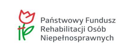 Logo Polskiego Funduszu Rehabilitacji Osób z Niepełnosprawnościami. Rysunek tulipana na białym tle